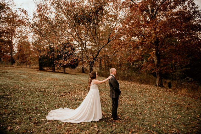 Backyard Wedding first look