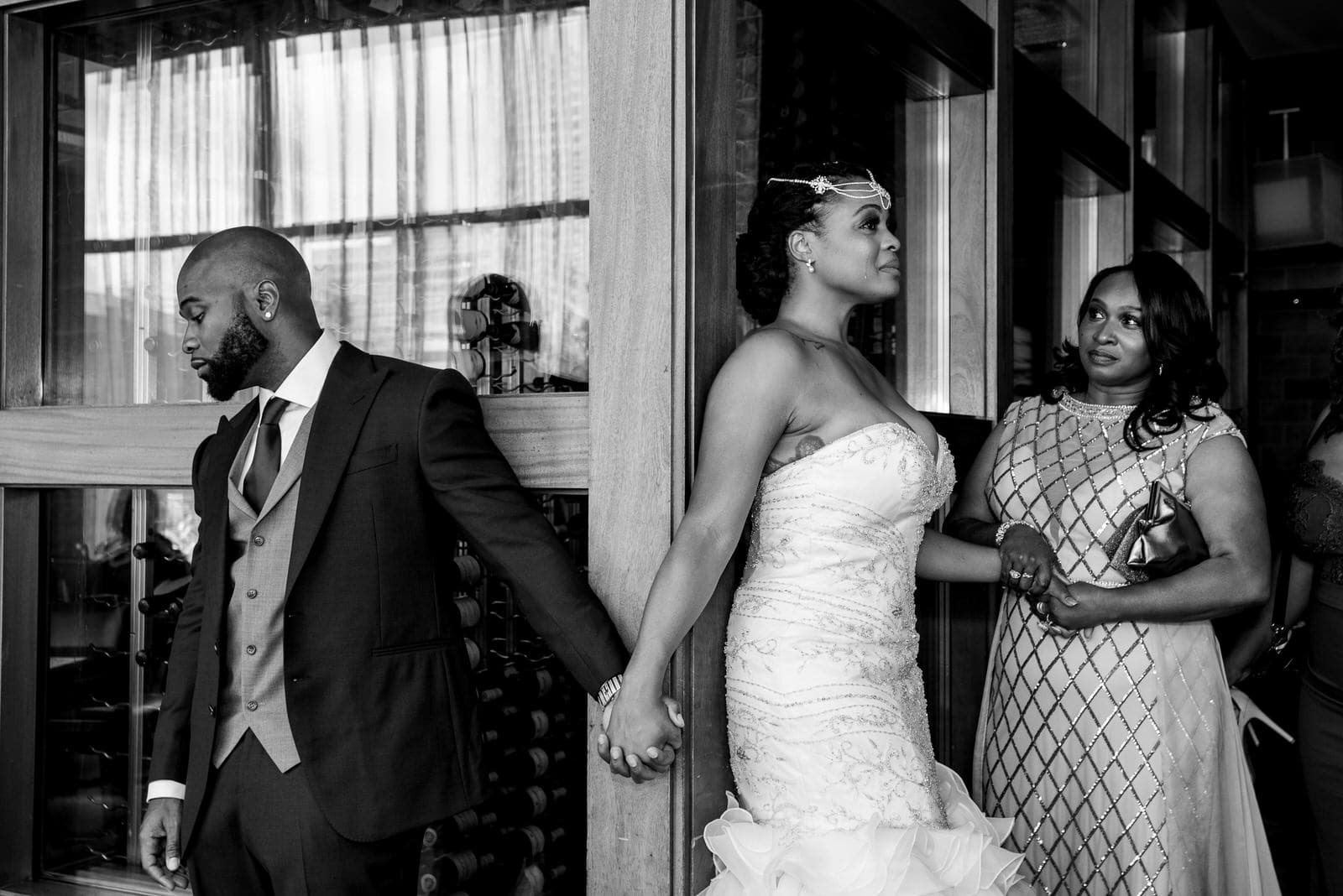 Bride and Groom anticipating their first look