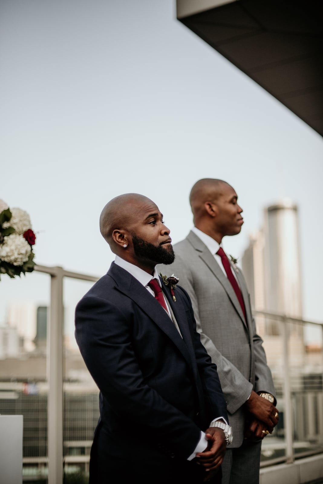 Groom awaiting his bride to come down the aisle