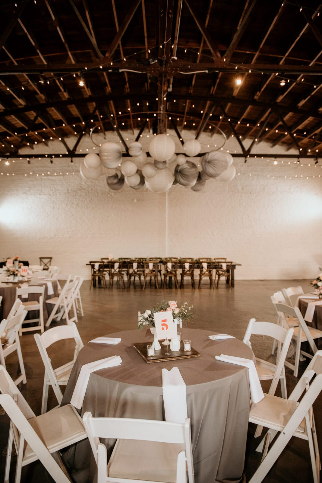 Wedding Reception with Chairs, Lights
